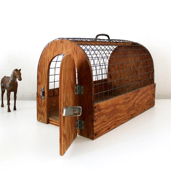 Vintage Wooden Animal Cage / Carrier