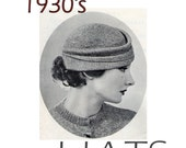 1930's Vintage Knitting Patterns Hats Scarves E book PDF Pattern Collection