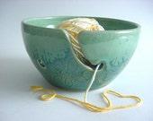 Carved flower Yarn bowl,  handmade stoneware pottery  ( YH298n )