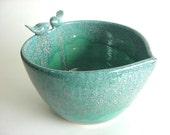 Porcelain Lovebirds Heart  Planter,Yarn bowl, or Serving bowl.  Handmade pottery