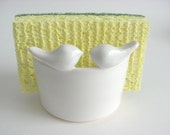 Lovebirds Sponge holder, Letter holder, white napkin holder,   Holder Handmade ceramic  Pottery