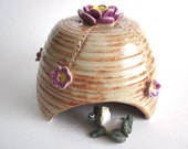 Spring SALE..Frog house - Handmade ceramic pottery - Toad house - Toad abode