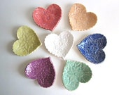 Wedding favors heart dish, Birthday parties favors, Baby shower Handmade pottery. (c)