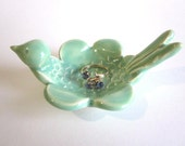 Ring dish, Mint green,  Ring holde,r Jewelry dish, Wedding ring holder, Candle holder,  Ceramic Pottery,
