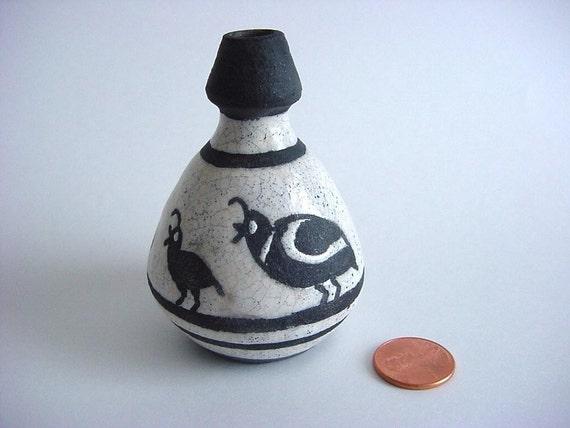 Mini Quail Raku Vase, Black and White, Quail family, Handmade Stoneware Pottery