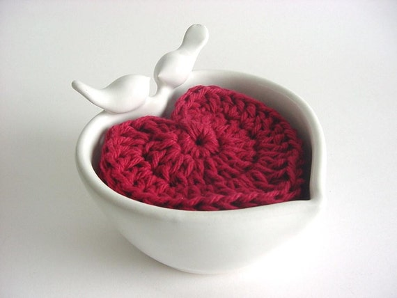 Love Bird's Heart Bowl,  Handmade Stoneware Pottery