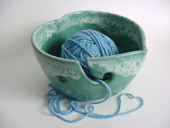 Heart Yarn bowl Handmade Stoneware Pottery IN Stock (434c)