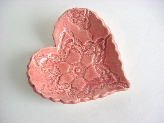 Heart ring holder  rose soap dish, ring dish, Mother's Day gift, spoon rest Gift bagged and ready to give