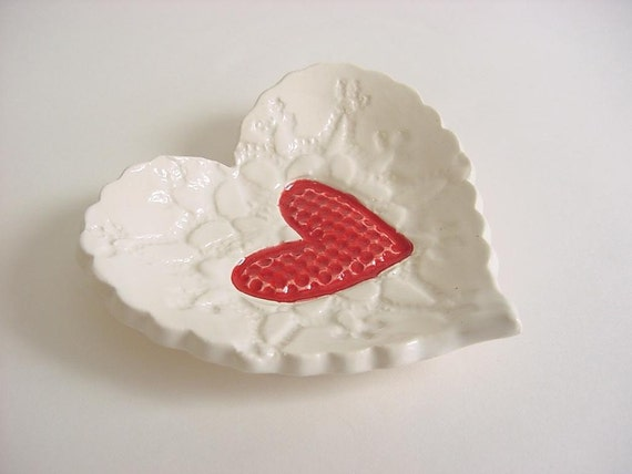 Sweet little heart tray, Hand built stoneware pottery Red and White