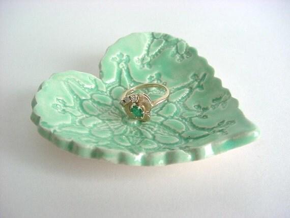 Lace heart tray, Hand built stoneware pottery T24
