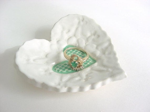 Sweet little heart tray, Hand built stoneware pottery Snowy white and mint green