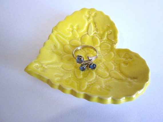 Yellow Heart dish, Ring holder, Ring dish, Handmade, Candle holder,  Gift boxed,  ceramic pottery