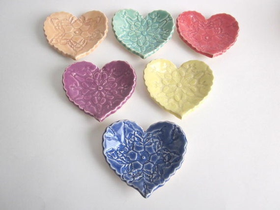 Special Order for Tyga Designs..Sweet little heart dish for the bride or bridesmaids Handmade pottery