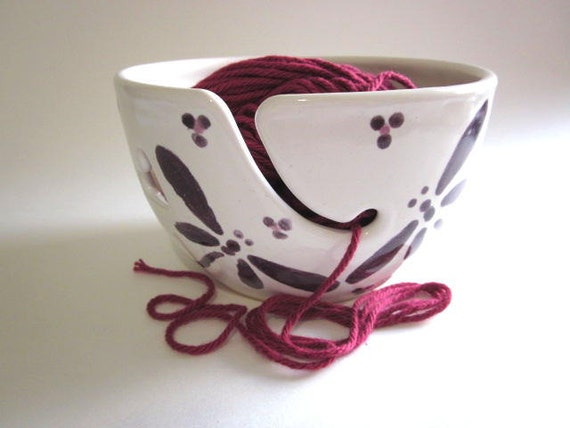 Knitting Yarn Holder : Yarn bowl holder knitting purple by