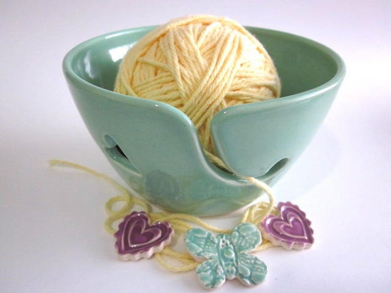 Reserved for Kyle...Yarn bowl, mint green Ceramic Yarn holder, knitting bowl handmade pottery Home decor