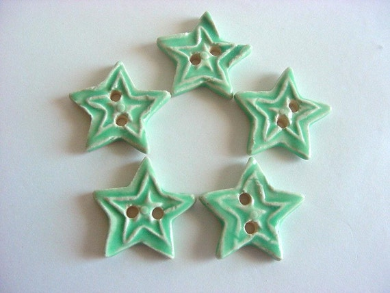 This is listing is reserved for:  Keri         Star ceramic Buttons, mint green star buttons, sewing buttons, Handmade buttons