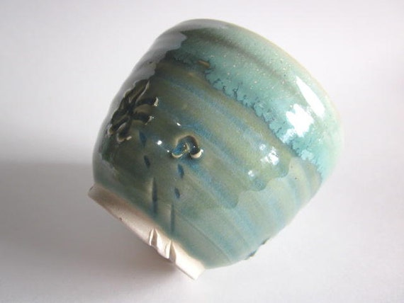 Tea Bowl, Mint Green, Cup, teacup, mint green Handmade stoneware art pottery