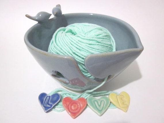 Lovebirds, Heart, Yarn bowl, yarn holder, Knitting bowl,  Handmade, ceramic pottery, K