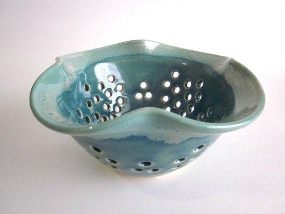 Berry  Colander - Berry Bowl, Sieve, Strainer, Mint green, Bowl, Handmade stoneware pottery