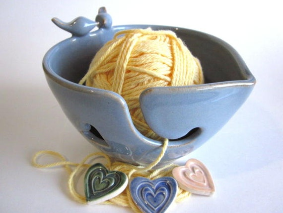 Lovebirds, Heart, Yarn bowl, yarn holder, Knitting bowl,  Handmade, ceramic pottery, C