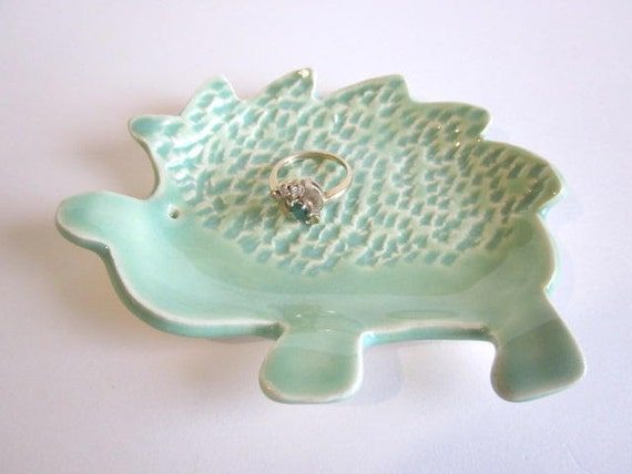 Hedgehog snack dish,  mint green, ring holder, candle holder, soap dish, ceramic pottery,