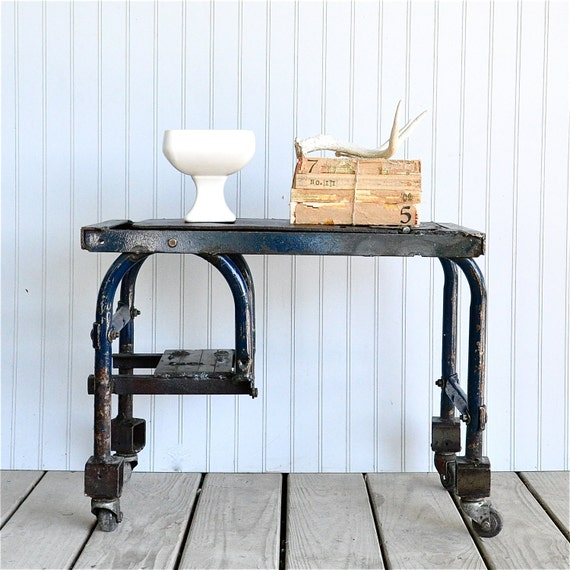 Industrial Blue Table on Casters