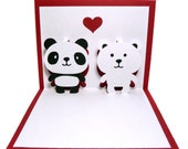 Panda and Polar Bear In Love Pop Up Card