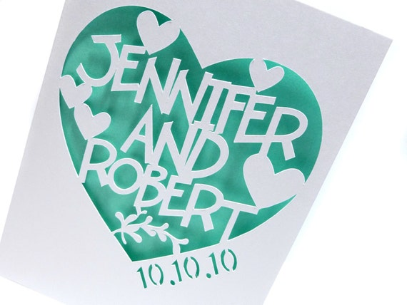Hand Cut Anniversary Card in Sea Green