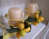 Reserved for Cheryl Yummy Yellow Couch Springs Pottery Barn Inspired Cottage Candle Holder Centerpiece