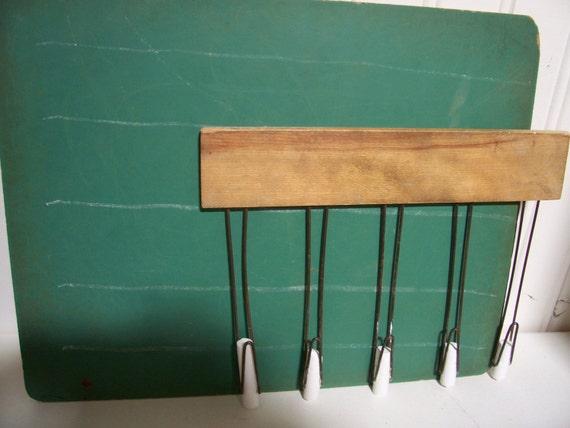 Vintage Five Line Wooden Chalk Holder with Individual Chalk Board