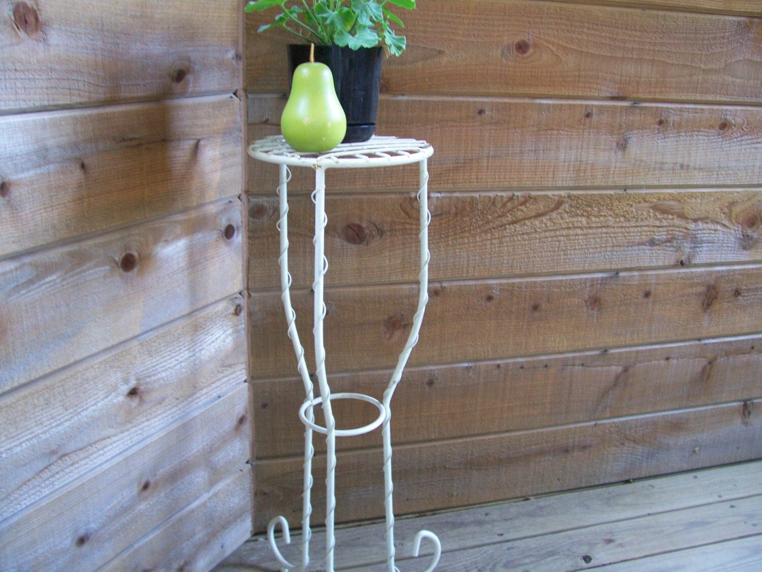 vintage white painted wrought iron plant stand. Black Bedroom Furniture Sets. Home Design Ideas