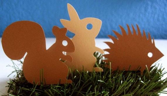 Woodland Creatures Hedgehog Squirrel Rabbit  die cuts Set of 15