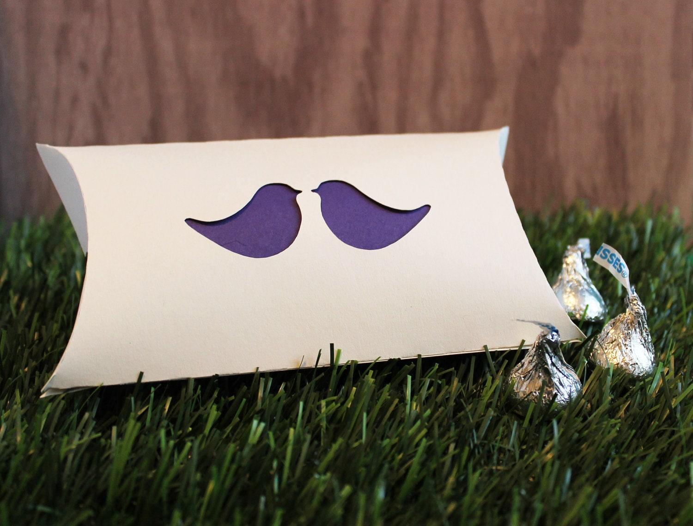 Wedding Favor Pillow Boxes Love Bird Accent Set of 25