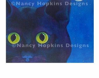 "Print ""Bright Eyes"" (black cat)"