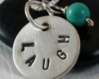 LAUGH silver charm with turquoise bead