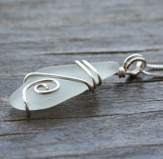 Beach Glass Necklace - White - collected along the Chesapeake Bay