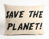 SAVE THE PLANET oatmeal and black recycled felt applique pillow
