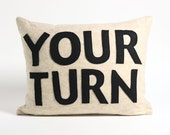 YOUR TURN oatmeal and black recycled felt applique pillow