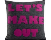 LET'S MAKE OUT - recycled felt applique pillow 16 in - more colors available