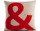 "AMPERSAND block font -  recycled felt applique pillow 16""x16"" - more colors available"