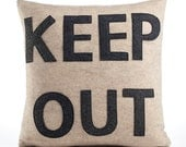 KEEP OUT - recycled felt applique pillow 16x16 oatmeal and charcoal