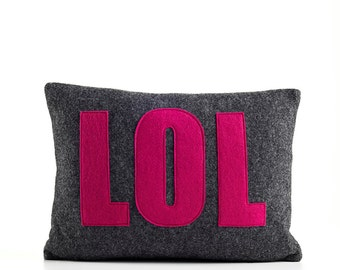 "Decorative Pillow, Throw Pillow, ""LOL"" pillow, 10X14 inch"