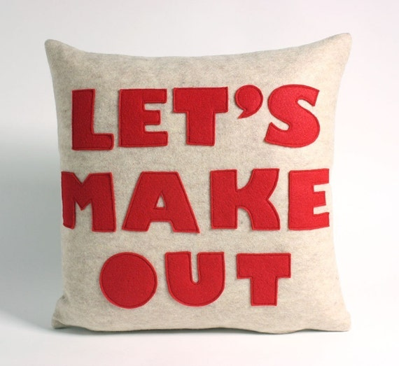 LET'S MAKE OUT - oatmeal and red- 16 inch recycled felt applique pillow