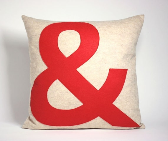 AMPERSAND block font - 22x22 inch recycled felt applique pillow - oatmeal and red