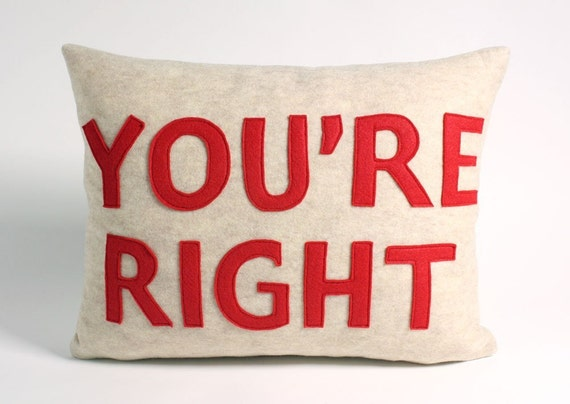 YOURE RIGHT 14x18inch recycled felt applique pillow - oatmeal and red