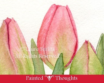 Pink Spring Tulips Archival Print from an Original Watercolor by Laure Ferlita