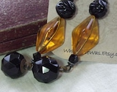Bewitching~~Antique Assemblage Dangle Earrings Black Glass Buttons and Deep Amber Glass