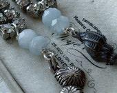 Sterling Silver Seashells Aquamarine Beads and Rhinestones Dangle Earrings Beachcomber