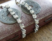 Antique Coin and Rhinestone Earrings  Assemblage