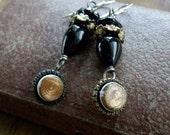Antique Button Dangle Earring Assemblage
